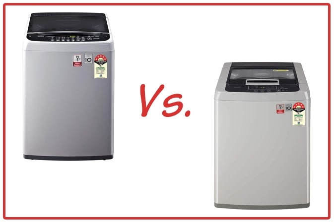 LG T65SNSF1Z (left) and LG T70SKSF1Z (right) Washing Machine Comparison.