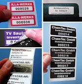 Nummerierte Inventaraufkleber für Innen und Außen