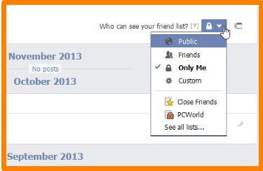 facebook how to hide friends list from everyone timeline