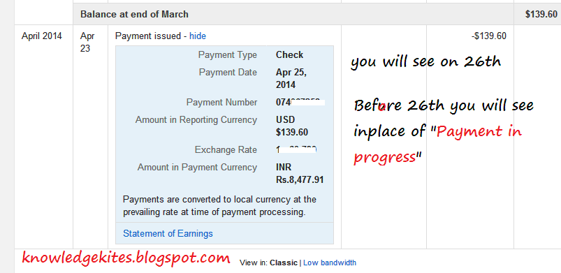 adsense Payment in progress step 3