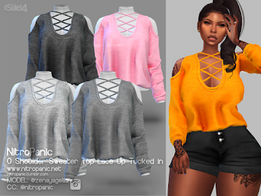 0 Shoulder Sweater Top Lace Up Tucked In for The Sims 4