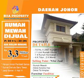 dijual Rumah Mewah (Rumah Utama + 4 Unit Rumah Kontrakan) di daerah Medan Johor <del>Rp 3,5 Miliar</del> <price>Rp 3,3 Miliar</price> <code>RUMAHMEWAHJOHOR</code>