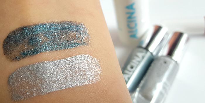 Swatches: ALCINA - Summer Breeze Makeup Collection - Aqua Eye Tint silver & turqouise