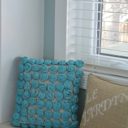 How To Make A Turquoise Painted Drop Cloth Rosette Pillow