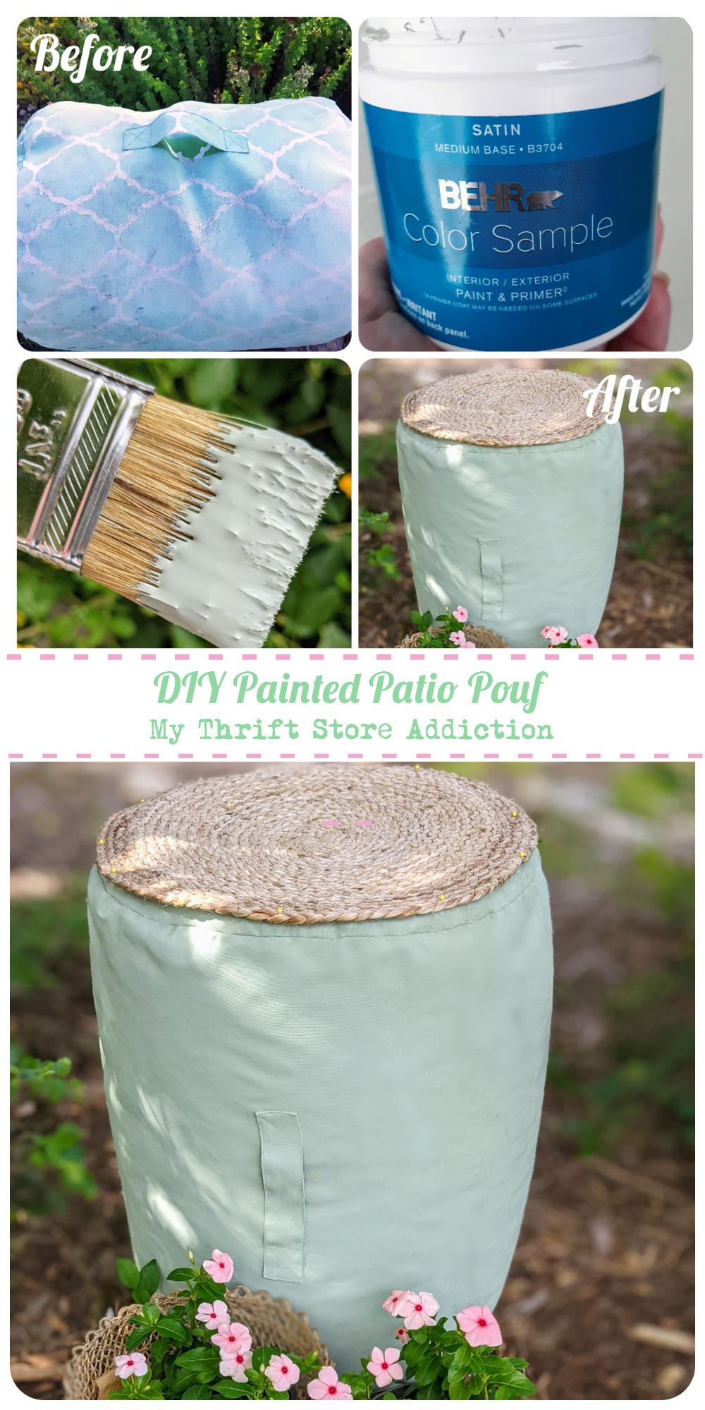 DIY painted patio pouf