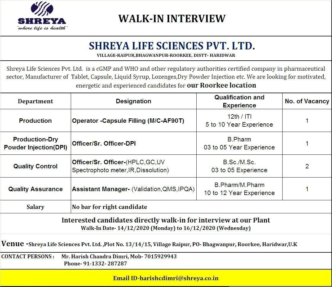 Shreya Life Sciences Pvt Ltd WalkIn Interviews Production QC QA on 14th to 16th Dec 2020