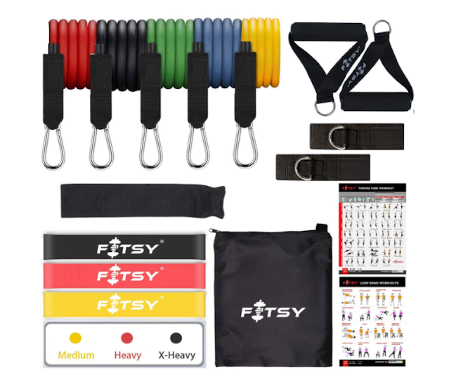 FITSY® 16PCS Resistance Bands Set for Exercise, 5 Stackable Exercise Toning Tube for Workout with 2 Handles, 3 Resistance Loop Bands, 1 Carry Bag, 2 Ankle Straps, 1 Door Anchor & 2 Workout Charts