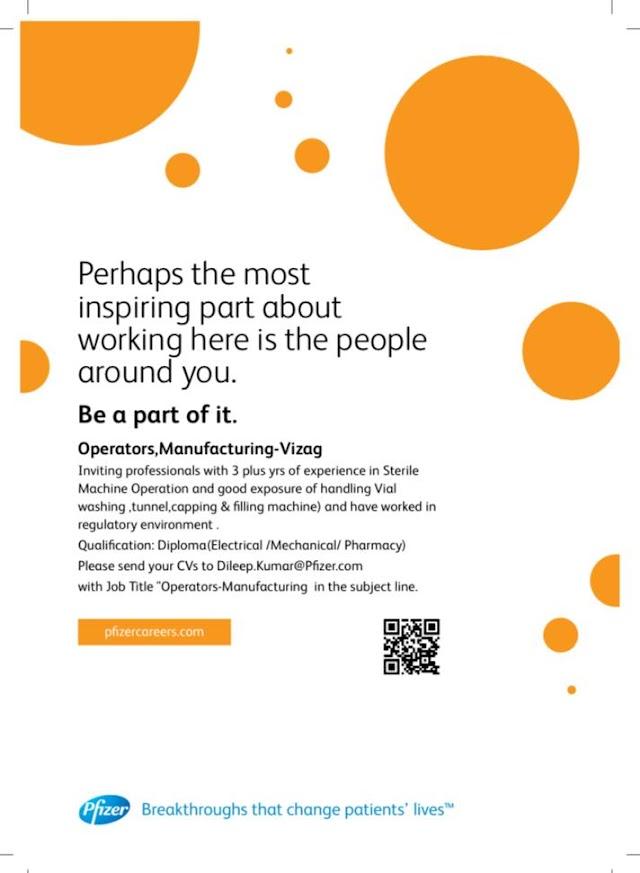 Pfizer |  Hiring Production operators at Vizag | Send CV