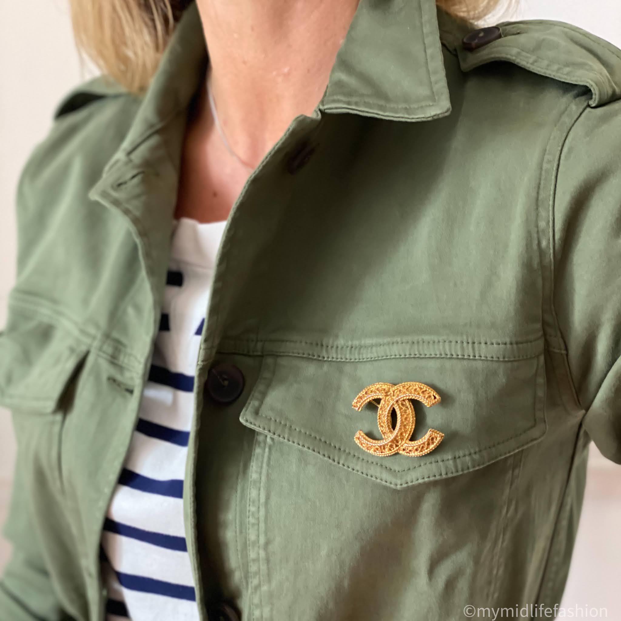 my midlife fashion, Chanel brooch, baukjen Layla organic top, baukjen drake organic utility jacket