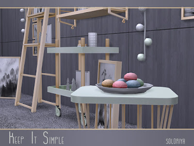 Keep It Simple Будь проще для The Sims 4 В набор входят 17 предметов. Имеет белый, черный, зеленый и светло-коричневый цвета. Предметы в наборе: - корзина - журнальный столик - барный стул - функциональные полки - лестница с функциональными полками - блокнот с деревьями - настенные часы - печенье - настенные росписи - краски для пола - декоративные сосуды - галстук в рамке - олень на тарелках - 3 набора посуды - декоративные фонари. Автор: soloriya