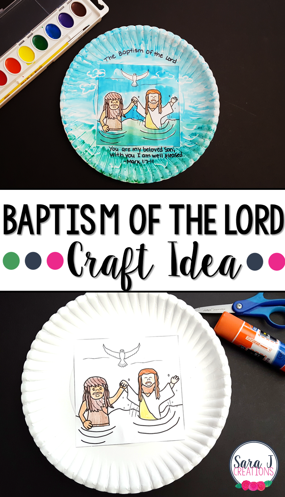 Free Baptism of the Lord craft that is perfect for multiple ages #faith #sarajcreations #catholic #crafts #biblestories