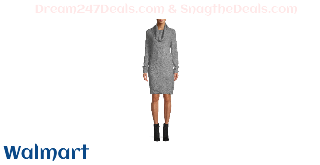Time and Tru Women's Cowl Neck Dress with Button Detail