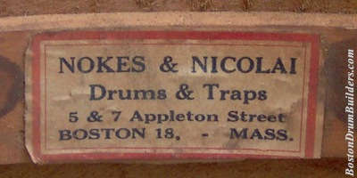 Nokes & Nicolai drum label, circa 1920 - 1926