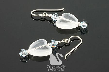 Crystal Blue Frosted Heart Beaded Earrings (E200)