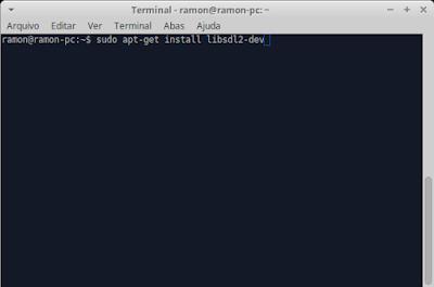 """Terminal com o comando """"sudo apt-get install libsdl2-dev"""""""