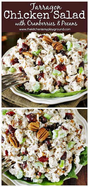 Classic Tarragon Chicken Salad ~ Loaded with big flavor from dried tarragon, dried cranberries, & chopped pecans. Perfect served over greens or in {the best} chicken salad sandwiches.  www.thekitchenismyplayground.com