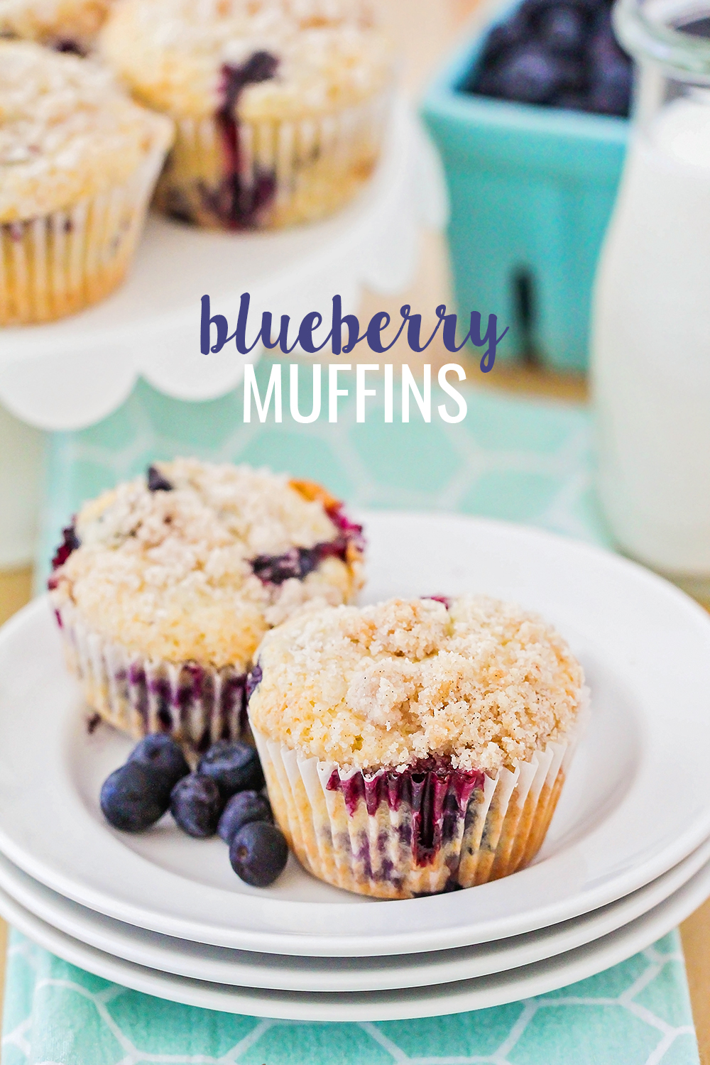 These streusel-topped blueberry muffins are made with fresh berries and have the perfect tender crumb!