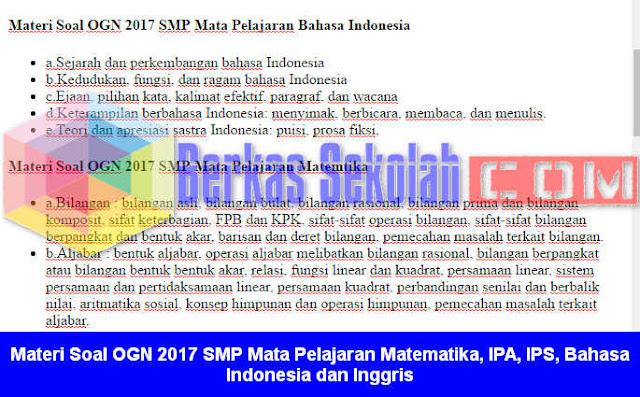 Materi Soal OGN 2017 SMP
