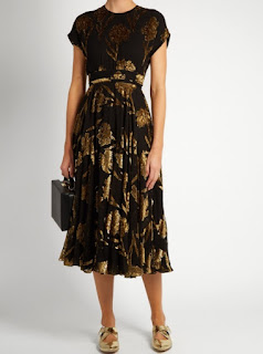 Rochas floral fil coupe crepon midi dress in black gold with cap sleeves and cinched waist detail