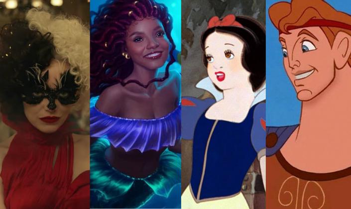 Imagem de capa: a personagem em live-action de Cruella, interpretada por Emma Stone, com os cabelos divididos com cores preta e branca, uma máscara preta com formato de chamas e um vestido vermelho, ao lado, uma ilustração de Halle Bailey, uma garota negra como a Ariel, com cabelos vermelhos, um tipo de roupa por cima roxa e cauda verde brilhante, em fundo azul-claro, do lado, a personagem Branca de Neve da Disney, em um vestido azul-escuro com a saia amarela e detalhes dourados, cabelos pretos e lábios vermelho, e ao lado, o Hércules da Disney, com a armadura marrom com detalhes dourados, cabelos ruivos e olhos azuis, além de muito musculoso.