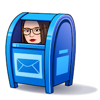 Miss Lawrence's cartoon avatar, a woman with big glasses and long brown hair, hides in a blue mailbox