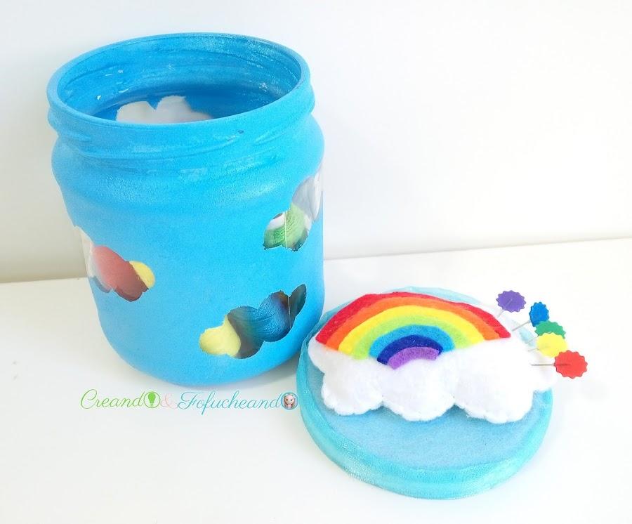 Reciclaje-frasco-de-cristal-alfiletero-de-arcoiris-creando-y-fofucheando