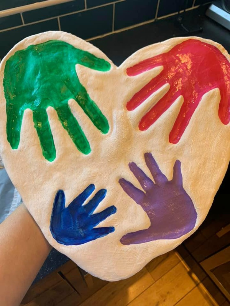salt dough family handprint art