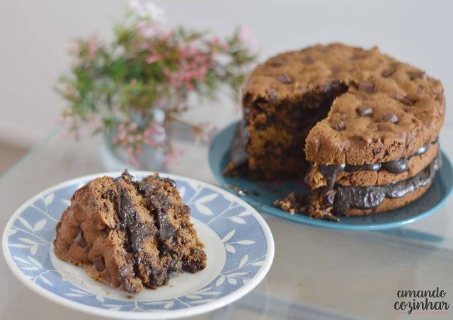 Receita Bolo cookie com brigadeiro