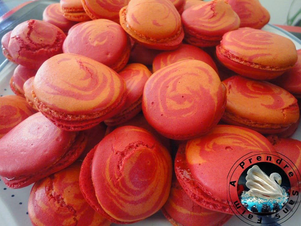 Macarons marbrés aux fruits de la passion
