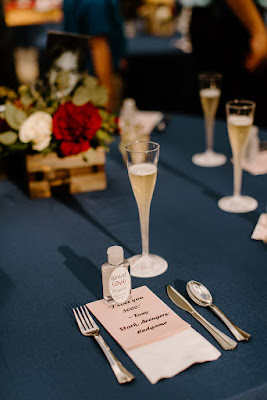 navy place settings in reception