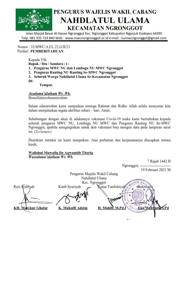 PEMBERITAHUAN PENDAFTARAN PESERTA VAKSINASI COVID-19 WARGA NU MWC NGRONGGOT