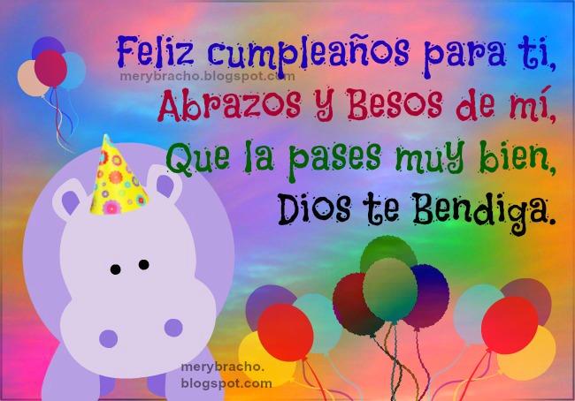 Cumpleaños Feliz para niño o niña. Imágenes lindas tarjetas para saludar a niño, niña, pequeño, en su cumpleaños. Felicitaciones, felicidades a bebé. Mensaje cristiano.