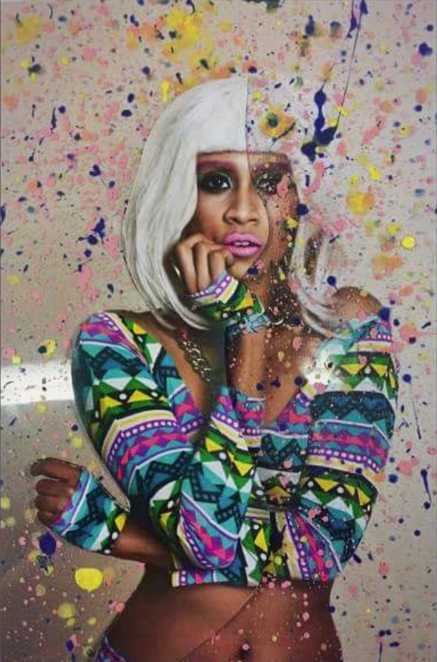 magazine photo shoot profile portrait confetti electro queen