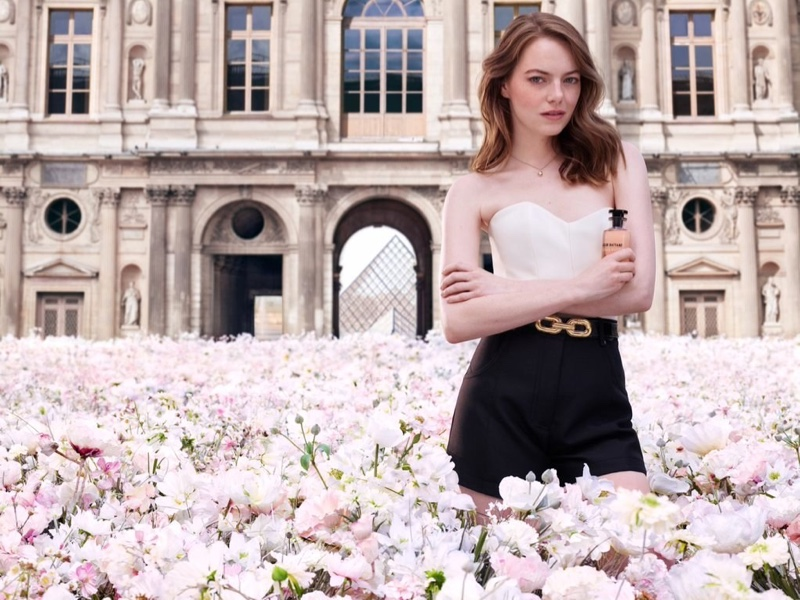 Emma Stone goes romantic for the Louis Vuitton Coeur Battant Fragrance Campaign