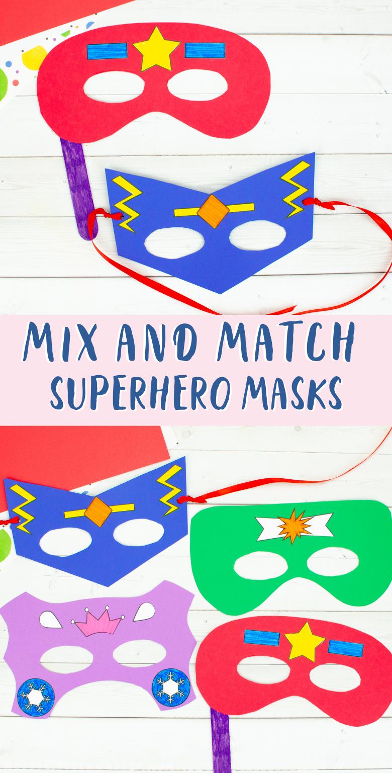 Printable superhero masks craft for kids. Mix and match superhero mask templates. Easy superhero craft.