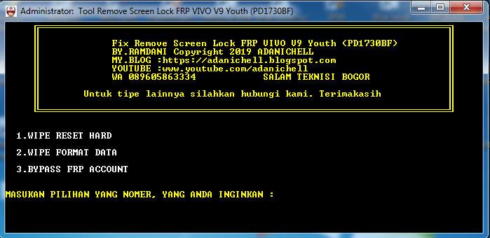 Tool Remove Screen Lock FRP VIVO V9 Youth (PD1730BF)