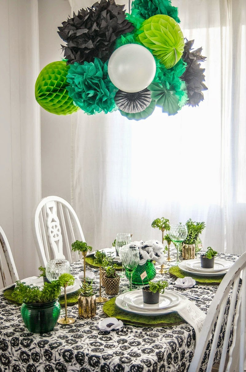 St. Patrick's Day Blogger Party - Giant Honeycomb Garland light fixture