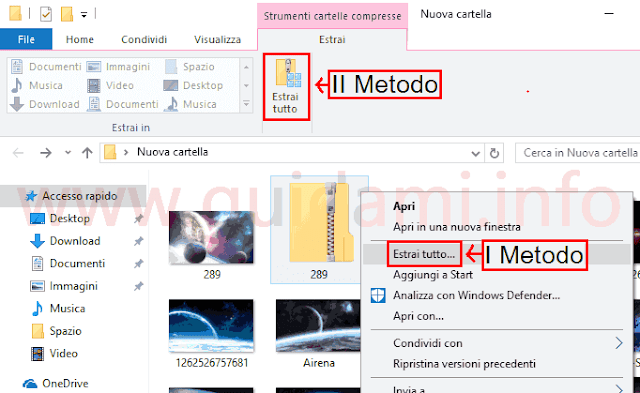 Windows 10 estrarre file da archivio ZIP
