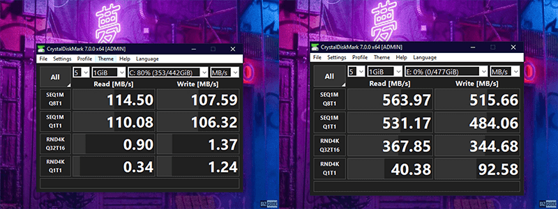 7200RPM HDD vs Kingston KC600 SSD speed comparison