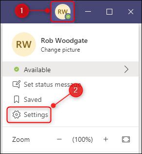 خيار إعدادات Microsoft Teams.