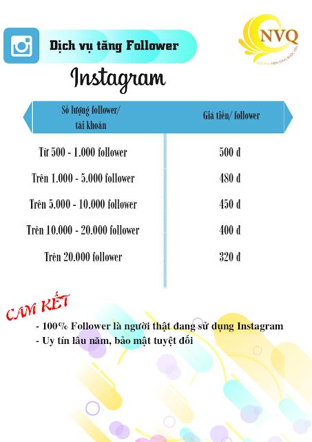 Bang gia dich vu tang Follower Instagram