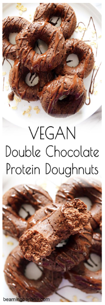 Vegan Double Chocolate Protein Doughnuts