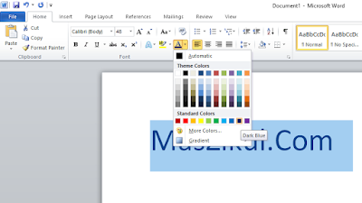 Cara Mengubah Warna Teks Dengan Menggunakan Warna Standar.