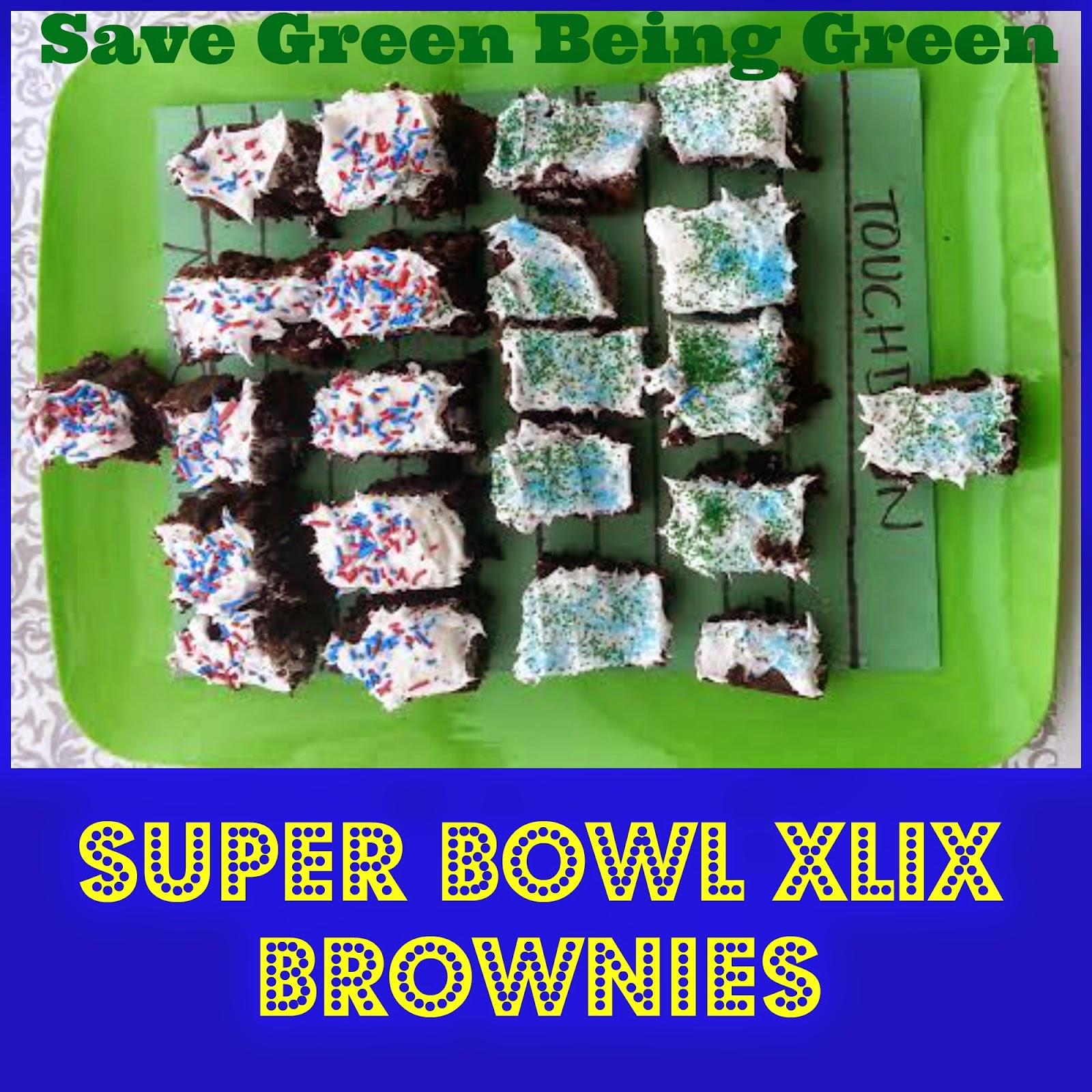Save Green Being Green Super Bowl Xlix Brownies