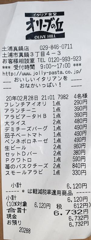 オリーブの丘 土浦真鍋店 2020/2/28 飲食のレシート