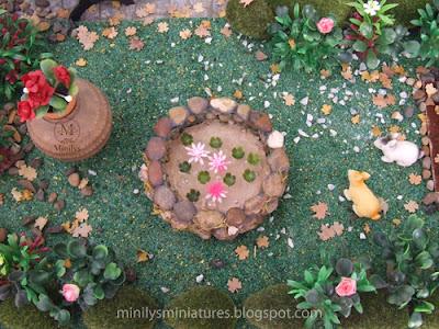 """minilys miniatures"" ""garden"" ""estanque"" 1:12 nenufares"