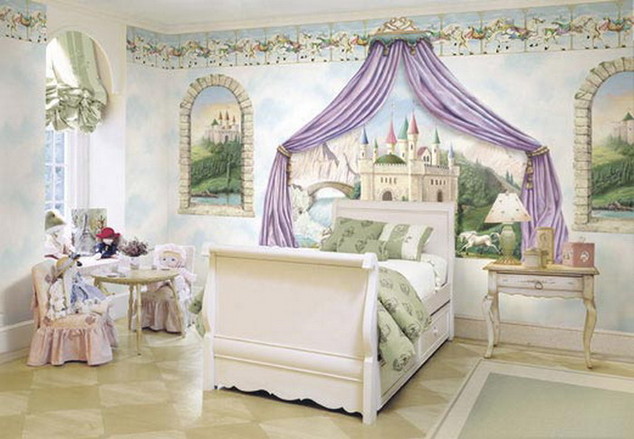50 best princess theme bedroom design for girls bahay ofw for Castle mural kids room