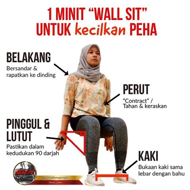 """Buat """"Wall Sit"""" 1 Minit Untuk Kecilkan Paha"""