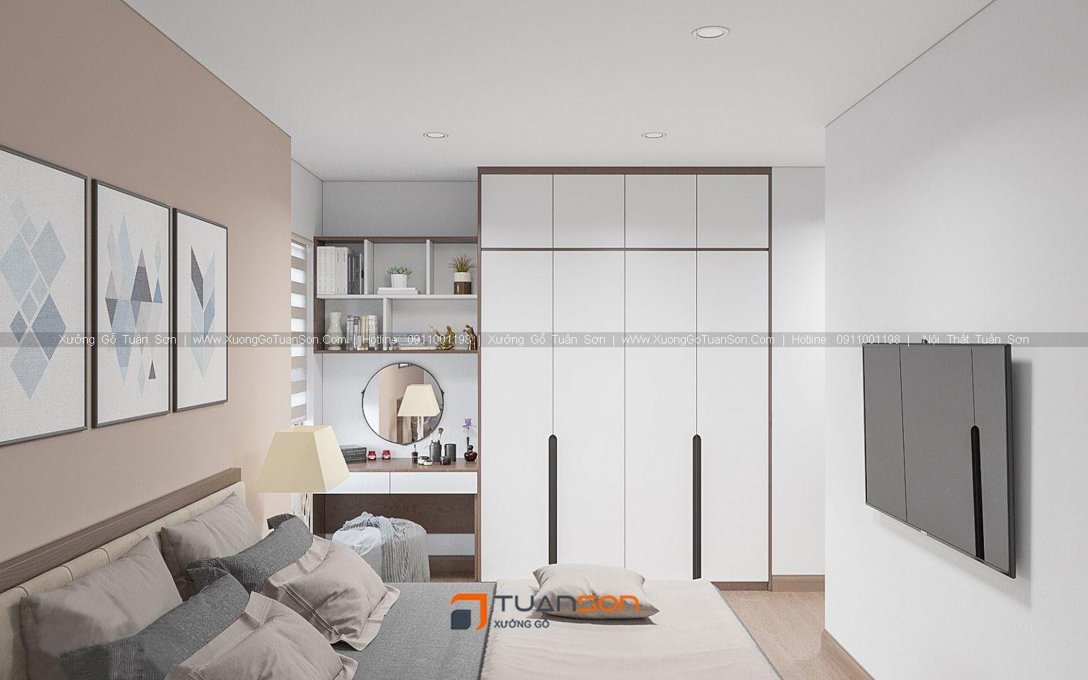 Thiết kế nội thất căn hộ 2 phòng ngủ (căn góc) IEC Thanh Trì