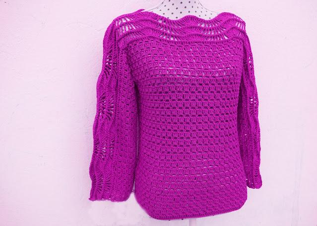4 - Crochet Imagen Blusa verde a crochet y ganchillo muy facil sencilla paso a paso por Majovel Crochet